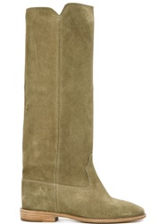 Isabel Marant 'Cleave' Concealed Wedge Boots Nude And Neutrals