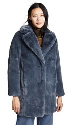 Mkt Studio Marili Faux Fur Coat Blue Denim