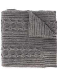 N.Peal Wide Cable Knit Scarf Grey