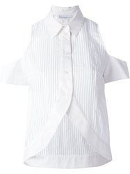 Wanda Nylon Cut Out Shoulder 'Maddy' Shirt White