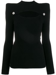 Balmain Structured Cut Out Knitted Top Black