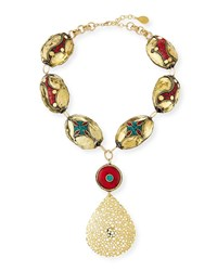 Devon Leigh Coral And Turquoise Filigree Pendant Necklace Gold
