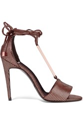 Pierre Hardy Blondie Metallic Striped Leather Sandals Bronze