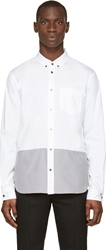 Marc By Marc Jacobs White And Grey Blocked Oxford Shirt
