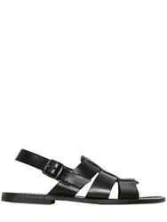 Zeus Caged Leather Slingback Sandals Black