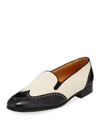 Gravati Bicolor Mixed Leather Wing Tip Flat Black