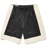 Dries Van Noten Colour Block Satin Twill Shorts Black