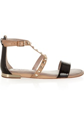 Dkny Farah Studded Leather And Patent Leather Sandals Black