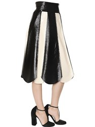 Salvatore Ferragamo Striped Nappa Leather Skirt