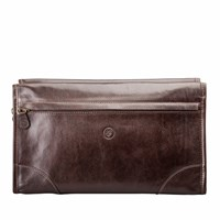 Maxwell Scott Bags The Tanta Luxury Large Leather Wash Bag Chocolate Brown