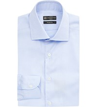 Corneliani Diamond Pattern Slim Fit Cotton Shirt Sky Blue