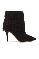 Aquazzura Sasha Fringe Suede Booties In Black