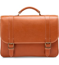 Aspinal Of London Leather Satchel Briefcase Tan