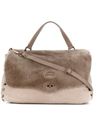 Zanellato Flip Lock Tote Women Leather Artificial Fur One Size Brown