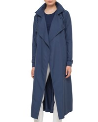Akris Punto Long Hooded Trenchcoat Deep Blue