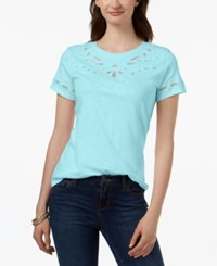 Charter Club Cotton Embroidered T Shirt Created For Macy's Angel Blue