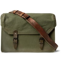 Maison Martin Margiela Replica Leather Trimmed Canvas Messenger Bag Green