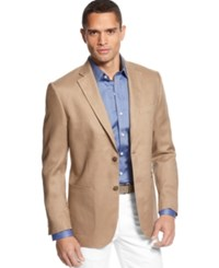 Tasso Elba Island Solid Linen 2 Button Blazer Safari Tan