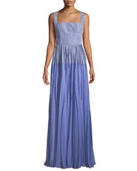 Lela Rose Square Neck Sleeveless Plaid Gown With Pleated Skirt Blue Pattern