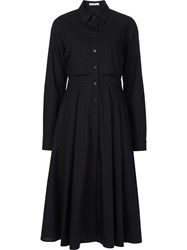 Tome Longsleeved Flared Shirt Dress Black
