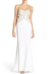 Women's Faviana Embellished Jersey Strapless Gown Ivory