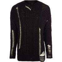 River Island Black Ladder Cut Out Cable Knit Jumper