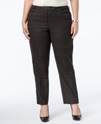 Calvin Klein Plus Size Plaid Trousers Grey