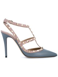 Valentino Garavani Leather Rockstud Sandals Blue