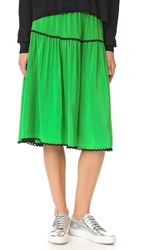Kenzo Silk Midi Skirt Grass Green