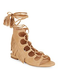Sigerson Morrison Smazzia Suede Lace Up Gladiator Sandals Nude