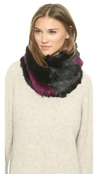 Jocelyn Color Striped Knitted Fur Infinity Scarf Black Charcoal Berry