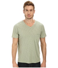 7 For All Mankind Short Sleeve Raw V Neck Sage Men's Clothing Green