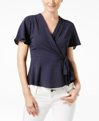 Monteau Petite Pleated Faux Wrap Top A Macy's Exclusive Navywhited