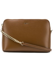 Dkny Saffiano Leather Cross Body Bag Brown