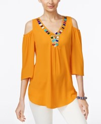 Ny Collection Cold Shoulder Beaded Blouse Cadmium Yellow