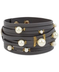 Inc International Concepts Gold Tone Imitation Pearl Leather Wrap Bracelet Only At Macy's Grey