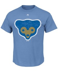 Majestic Men's Chicago Cubs Cooperstown Legacy Logo T Shirt Lightblue