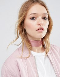 Asos Choker Neck Tie And Headscarf Pink