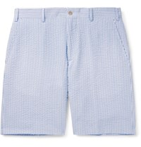 Anderson And Sheppard Striped Cotton Seersucker Shorts Blue