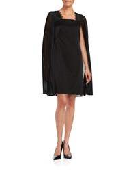 Kay Unger Sheer Cape Shift Dress Black