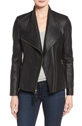 Via Spiga Women's Asymmetrical Leather Jacket Black