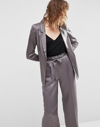 Asos Relaxed Soft Satin Blazer Light Grey