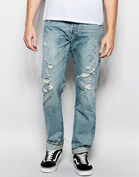 Denim And Supply Ralph Lauren Slim Jeans With Rips Blue