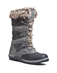 Blondo Sasha Waterproof Leather And Faux Fur Cuffed Boots Dark Grey