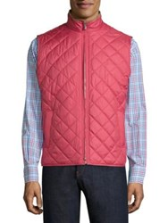 Peter Millar Crown Rutherford Diamond Quilted Vest Cape Red Perfect Navy