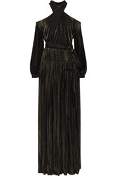 Rosetta Getty Cutout Lame Striped Mesh Maxi Dress Black