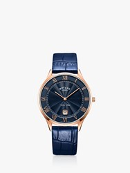 Rotary Gs05304 05 'S Pvd Ultra Slim Leather Strap Watch Navy