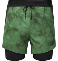 Nike Running Tech Pack Slim Fit 2 In 1 Layered Tie Dyed Dri Fit Shorts Green