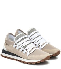 Brunello Cucinelli Suede And Leather Sneakers Beige