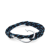 Miansai Silver Tone Hook Rope Bracelet Blue And Black